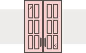 Mullion cabinet doors